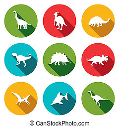 Dinosaurs flat icons set - Dinosaurs icon set on a colored...