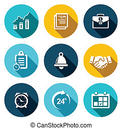 office business flat icons set - office business icon...