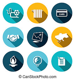 Natural gas industry flat icon set - Natural gas industry...