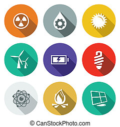 Energy flat icons set - Energy icon collection on a colored...