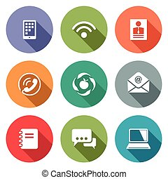 Vector Communication flat icons set - Communication icon...