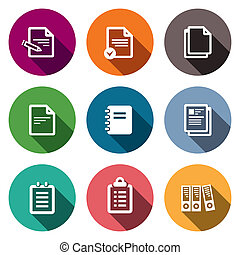 Notepad paper documents icons set - Documents icon...