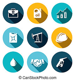 Petroleum industry flat icon collection - Petroleum industry...