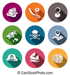 Pirates flat Icon set - Pirates icon set on a colored...