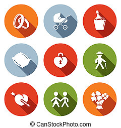 Peoples lives flat icons set - Peoples lives icon set on a...