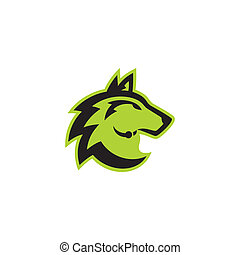 Wolf head sign - Wolf head abstract sign isolate on a white...