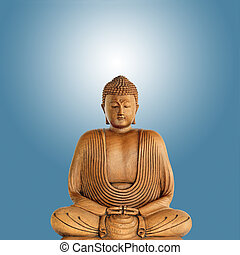 Buddha Enlightenment - Buddha in meditation, over blue...