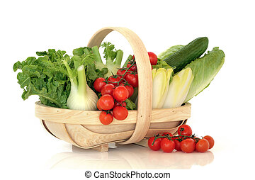 Salad Vegetables in a Basket