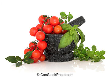 Herb Selection and Tomatoes - Herbs of oregano, basil and...