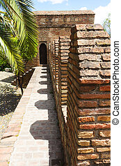 Alcazaba wall - Capture of Alcazaba fortress wall in Malaga,...
