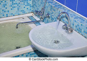 inundación, cuarto de baño