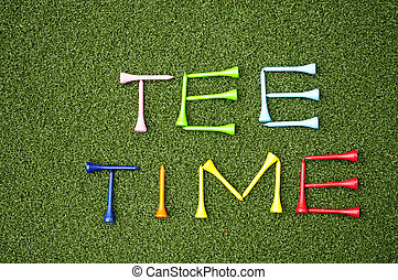 tee time - golf tees spelling out tee time