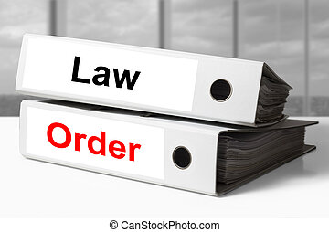 office binders law order - stack of two white office binders...
