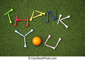golf ball thank you - golf tees spell out thank you