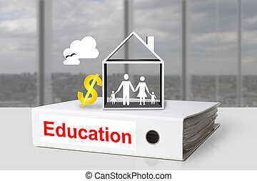 office binder family house educations cost dollar symbol -...