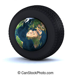 tire with the world inside 3d illustration