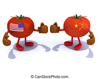 Chinese and American tomato with boxing gloves that fight