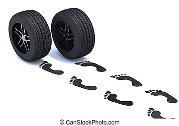 footsteps with tires - footsteps walking with tires, 3d...