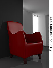red chair in modern room