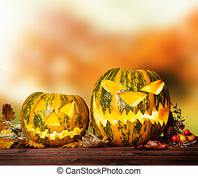 Scary hallowen pumpkin on wood - Concept of halloween...
