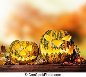 pauroso, hallowen, zucca, legno
