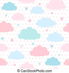 Kids background with clouds and stars - Children vector...