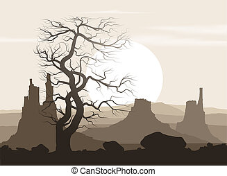 Lifeless landscape with old huge tree and mountains over...