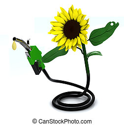 suflower and fuel pump, 3d illustration