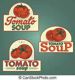Tomato soup labels set for using in different spheres
