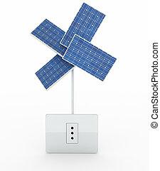 four solar panels like a flower over energy plug