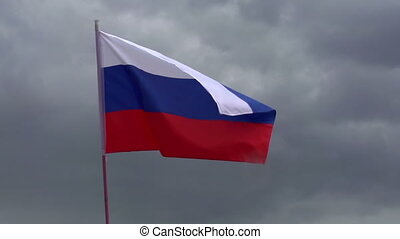 Flag of Russia - Russian flag on a background of heavy...