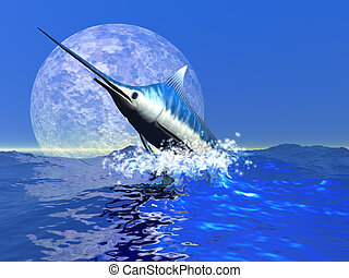 BILLFISH - A blue marlin bursts from the ocean in a great...