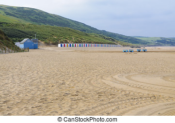 Woolacombe beach in the morning. Woolacombe is a seaside...