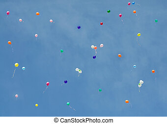 balloons on a background of blue sky