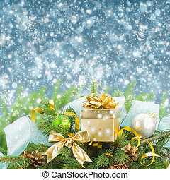 fir tree and christmas decorations with gift box on blue sky...