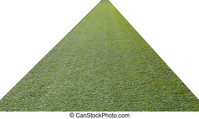artificial green grass pathway isolated on a white...