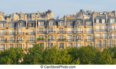 parisian typical building palace - generic parisian house in...