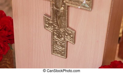 Cross on tribune - Decorative crucifix on faculty Orthodox...