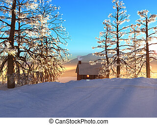 SNOWY CABIN - A winter cabin offers warmth and comfort.