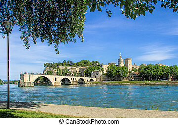 Avignons bridge and The Popes Palace in Avignon city of...