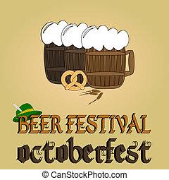 Cold beer poster Oktoberfest beer festival Vector...