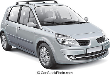 French silver MPV - Detail vector image of silver French...