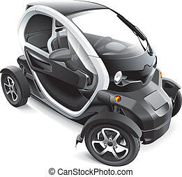 European Electric Car - Detail vector image of subcompact...