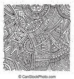 tribal ethnic background - Abstract vector hand drawn sketch...