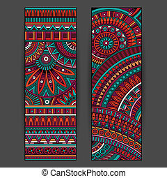 Abstract vector ethnic pattern cards set - Abstract vector...