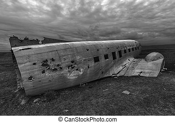 Crashed palne - Wreck of a US military plane crashed in the...
