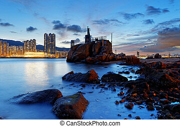 Hong Kong Lei Yue Mun sunset - Hong Kong water bay and...