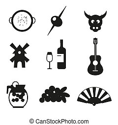 Spain icons pictograms set