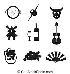 espagne, icônes, pictograms, ensemble