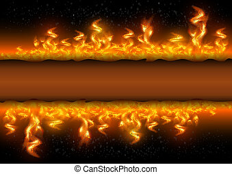 Fire flames with banner on black background - Illustration...
